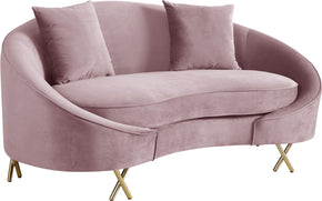 Meridian Furniture 679Pink-L Serpentine Pink Velvet Loveseat 704831400748