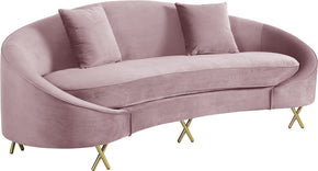 Meridian Furniture 679Pink-S Serpentine Pink Velvet Sofa 704831400731