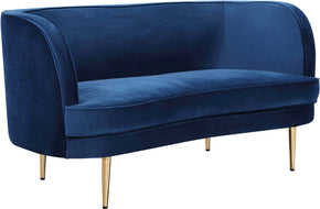 Meridian Furniture 694Navy-L Vivian Navy Velvet Loveseat 704831403176