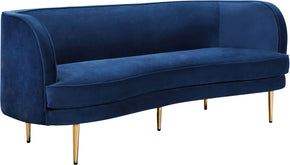 Meridian Furniture 694Navy-S Vivian Navy Velvet Sofa 704831403169