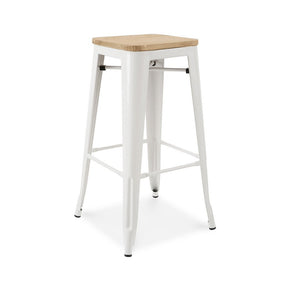 DesignLab MN LS-9100-WHTLW Dreux Glossy White Light Elm Wood Steel Stackable Barstool 30 Inch (Set of 4) 646263990858
