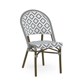 DesignLab MN LS-3002-GRYWHT de La Paix Aluminum Bamboo Stackable Side Chair 655222620729