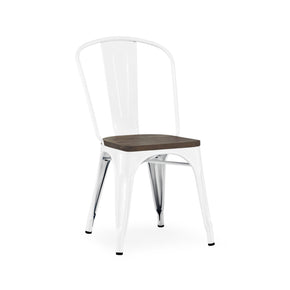 DesignLab MN LS-9000-2-WHTW Dreux Glossy White Elm Wood Stackable Side Chair (Set of 2) 655222620613