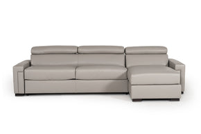 Vig Furniture VGNTSACHA-C409 Estro Salotti Sacha Modern Grey Leather Reversible Sofa Bed Sectional w/ Storage