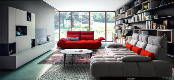 Vig Furniture VGFTBALOON-SET David Ferrari Baloon Modern Grey & Red Fabric Sectional & Sofa Set