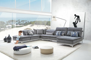 Vig Furniture VGFTHORIZON-GRYGRY David Ferrari Horizon Modern Grey Fabric & Grey Leather Sectional Sofa