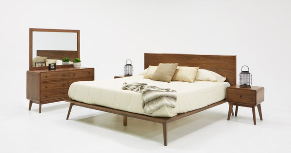 Vig Furniture VGMABR-79-BED Modrest Carmen Mid-Century Modern Walnut Bed  sale at Contemporary Furniture Warehouse. Today only.