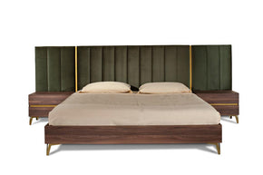 Vig Furniture VGACCALABRIA-BED Nova Domus Calabria Modern Walnut & Green Velvet Bed & Nightstands