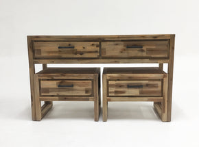 Vig Furniture VGWHMANDY-NUT Modrest Mandy Modern Nutmeg Acacia Console & End Table Set