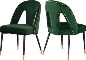 Meridian Furniture 794Green-C Akoya Green Velvet Dining Chair (set of 2) 647899953125