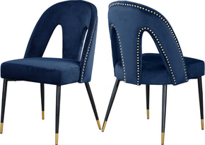 Meridian Furniture 794Navy-C Akoya Navy Velvet Dining Chair (set of 2) 647899953149