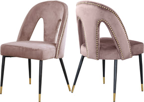 Meridian Furniture 794Pink-C Akoya Pink Velvet Dining Chair (set of 2) 647899953156