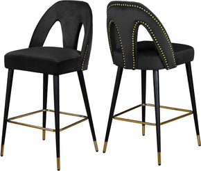 Meridian Furniture 795Black-C Akoya Black Velvet Stool (set of 2) 647899953163