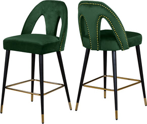 Meridian Furniture 795Green-C Akoya Green Velvet Stool (set of 2) 647899953170