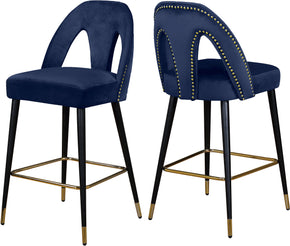 Meridian Furniture 795Navy-C Akoya Navy Velvet Stool (set of 2) 647899953194
