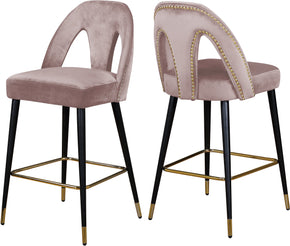 Meridian Furniture 795Pink-C Akoya Pink Velvet Stool (set of 2) 647899953200