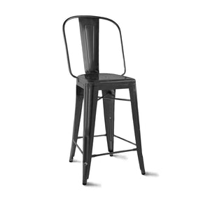 DesignLab MN LS-9101-MTBLK Dreux Matte Black Steel Bar Chair 30 Inch (Set of 4) 646263991817