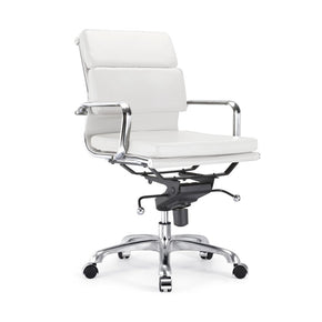 DesignLab MN LS-0008-1-WHTCRM Century White Padded Modern Classic Aluminum Office Chair 655222620217