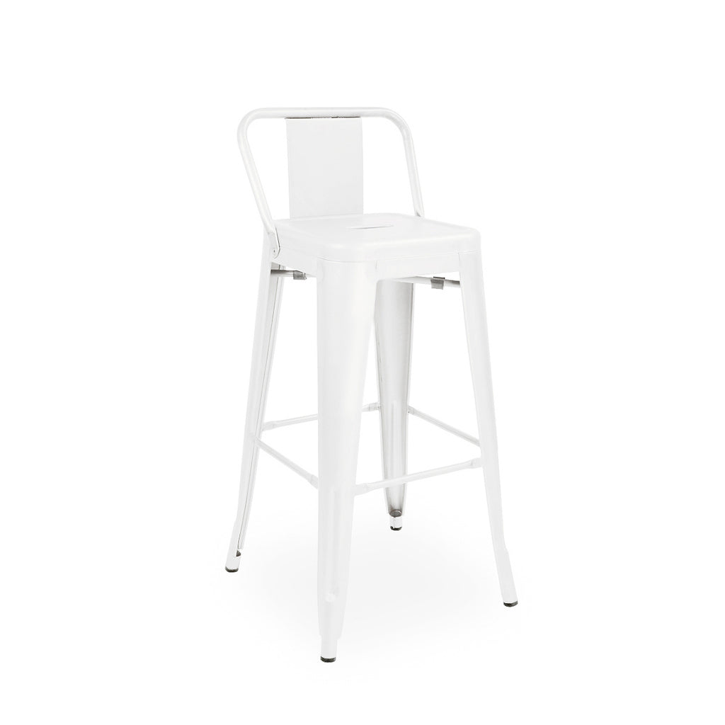Design Lab Mn Dreux Glossy White Low Back Steel Counter Stool 26