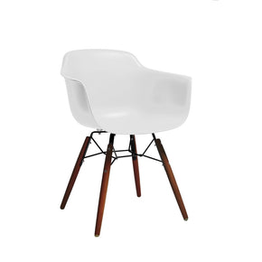 DesignLab MN LS-9341-WHTWAL Grazia White Mid Century Arm Chair Walnut Base Original Design (Set of 4) 646263991442