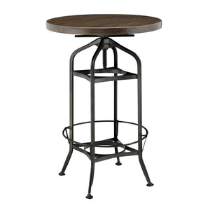 New Pacific Direct 9300041 Industrial Vintage Bar Table Gunmetal Base Walnut