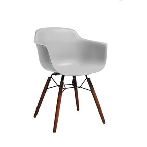 DesignLab MN LS-9341-PLTWAL Grazia Platinum Mid Century Arm Chair Walnut Base Original Design (Set of 4) 646263991411