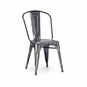 DesignLab MN LS-9000-2-DGUN Dreux Dark Gunmetal Steel Stackable Side Chair (Set of 2) 655222620446