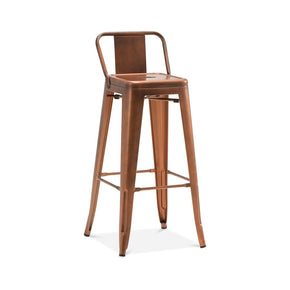 DesignLab MN LS-9100-COPLB Dreux Vintage Copper Steel Low Back Barstool 30 Inch (Set of 4) 646263991732