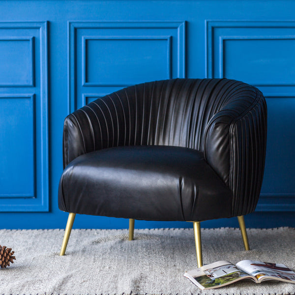 Incredible Buy New Pacific Direct 9900022 334 Anna Pu Leather Pleated Accent Chair Treasure Black At Contemporary Furniture Warehouse Forskolin Free Trial Chair Design Images Forskolin Free Trialorg
