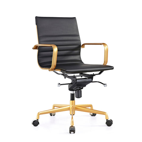 DesignLab MN LS-0009-BLKGLD Decade Black + Gold Modern Classic Aluminum Office Chair (Set of 2) 646263991350