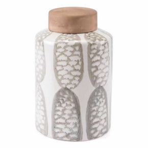 Zuo Modern A10229 Feather Large Covered Jar Ivory & Sage Grn