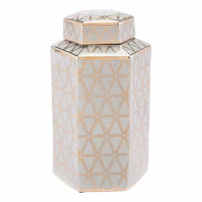 Zuo Modern A11067 Link Covered Jar Medium Gold And Blue