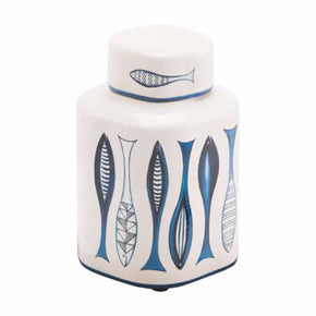 Zuo Modern A11078 Fish Temple Jar Small White And Blue
