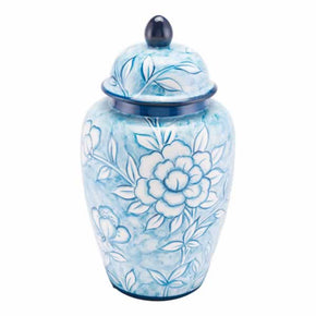 Zuo Modern A11079 Flower Temple Jar Large Blue And White