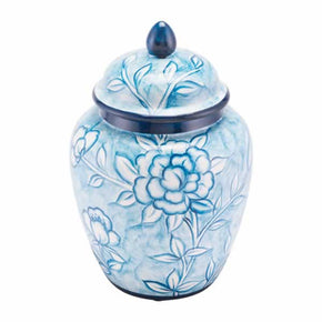Zuo Modern A11080 Flower Temple Jar Small Blue And White