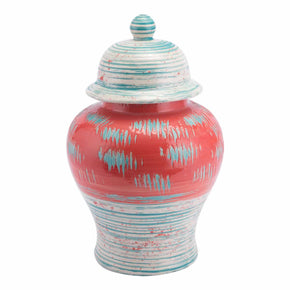 Zuo Modern A11437 Coralia Temple Jar Coral Red & Turquoise
