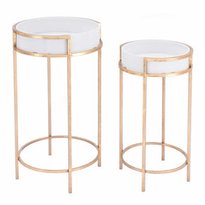Zuo Modern A11508 Set of 2 White Tables White & Gold