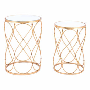 Zuo Modern A11527 Twist Set of 2 End Tables Gold