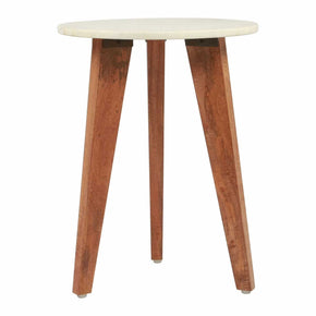 Zuo Modern A11564 Axton End Table White Marble & Wood