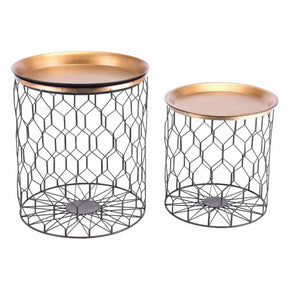 Zuo Modern A11612 Oriente Set Of Two Tables Gold