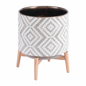 Zuo Modern A11827 Llano Large  Planter Gray & White
