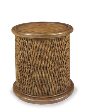 Progressive Furniture A717-68 Turk Casual/Rustic Round Woven Drum Table Tea