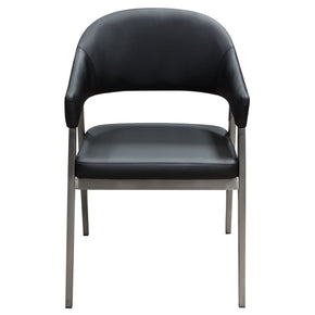 Adele Set Of Two Dining/Accent Chairs In Black Leatherette W/ Brushed  Stainless Steel Leg