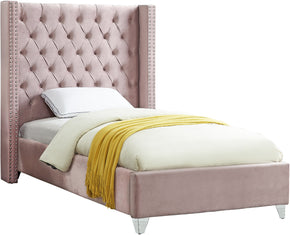Meridian Furniture AidenPink-T Aiden Pink Velvet Twin Bed 647899948930