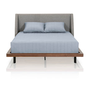 Star International Furniture 4641.PUM/WAL Andes Queen Bed Pumice Fabric, Walnut Frame, Black Legs | 100% Polyester