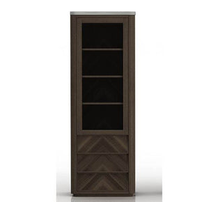 Star International Furniture 4599.CIN/SLA-GRY Apex Curio Cabinet Cinder Brushed Acacia, Slate Grey Sealed Concrete