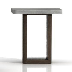 Star International Furniture 4596.CIN/SLA-GRY Apex End Table Cinder Brushed Acacia, Slate Grey Sealed Concrete