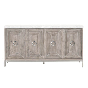 Orient Express Furniture 6087.NG-BSTL/WHT Azure Carrera Sideboard Natural Gray, Brushed Stainless Steel, White Marble