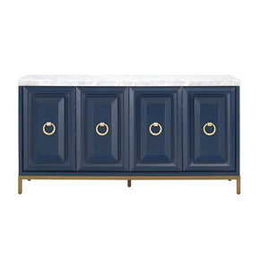 Sideboards - Orient Express Furniture 6087.NAV-BGLD/WHT Azure Carrera Sideboard Navy Blue, Brushed Gold, White Carrera Marble | 842279109653 | Only $2399.00. Buy today at http://www.contemporaryfurniturewarehouse.com