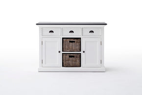 Sideboards - Nova Solo B129CT Halifax French Countryside Contrast Buffet w/ 2 baskets White-Black Top | 8994921001296 | Only $799.00. Buy today at http://www.contemporaryfurniturewarehouse.com